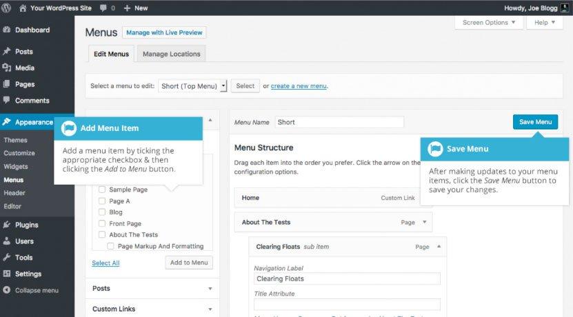 Aggiornamento del menu WordPress : aggiunta nuova voce menu