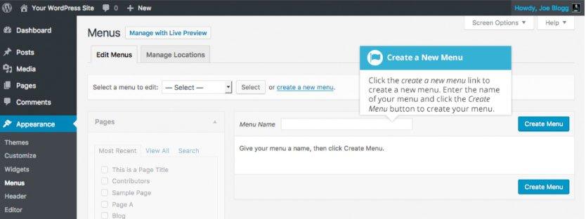 Aggiornamento del menu WordPress : creazione nuovo menu WordPress