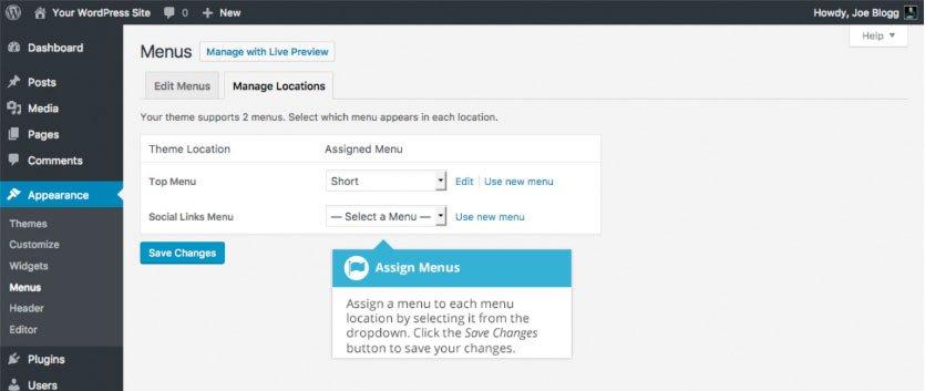 Aggiornamento del menu WordPress : gestione posizioni menu