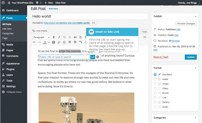 Aggiungere collegamenti HTML su WordPress : inserire link