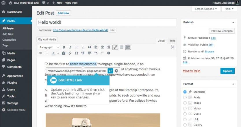 Aggiungere collegamenti HTML su WordPress : modifica HTML