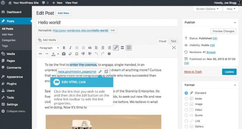 Aggiungere collegamenti HTML su WordPress : modificare HTML