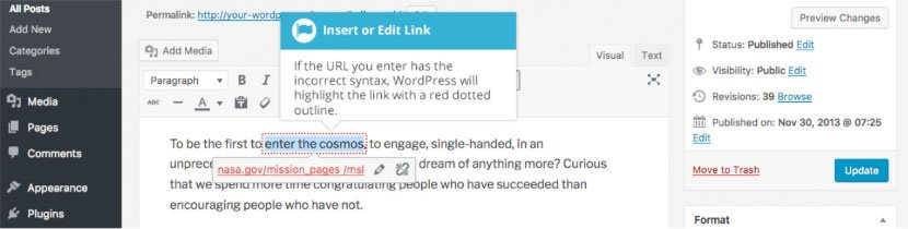 Aggiungere collegamenti HTML su WordPress : modificare link
