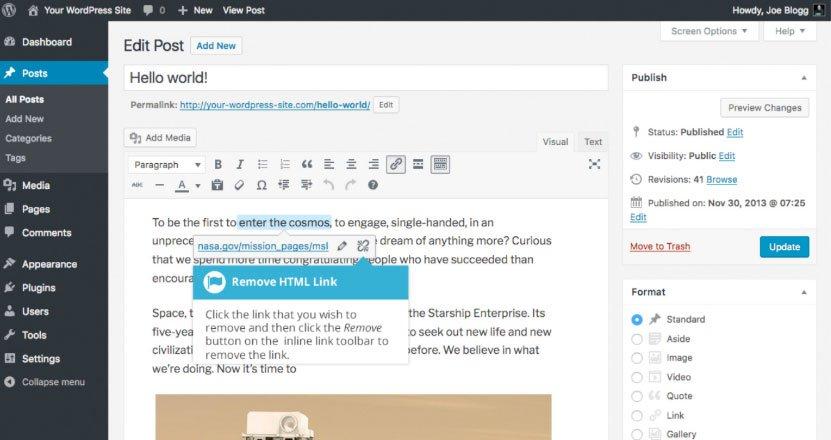 Aggiungere collegamenti HTML su WordPress : rimuovere link HTML