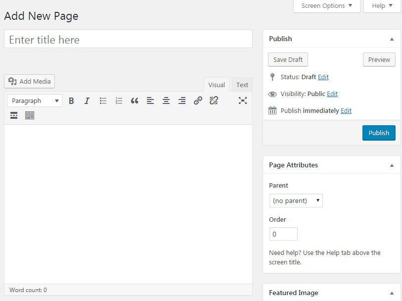 Aggiungere contenuti al tuo sito WordPress : aggiungere pagina