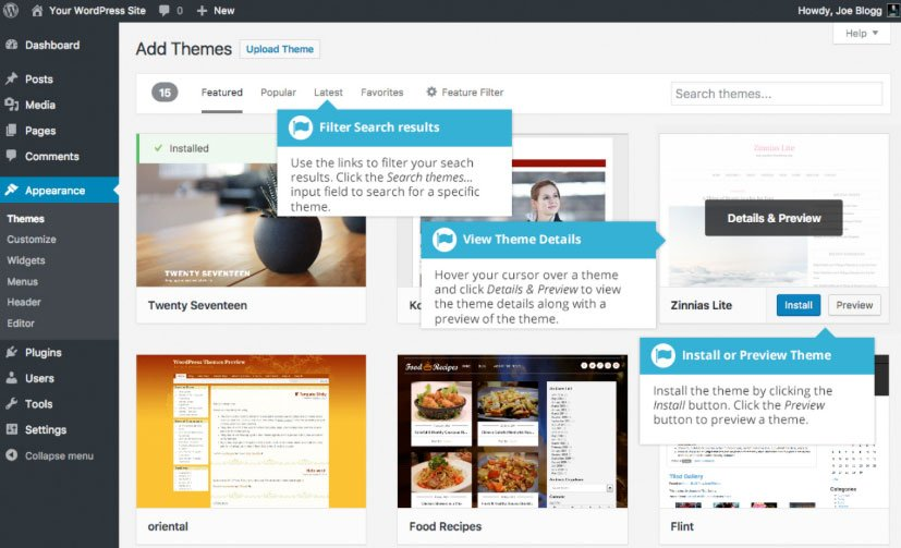 Aspetto WordPress : directory temi