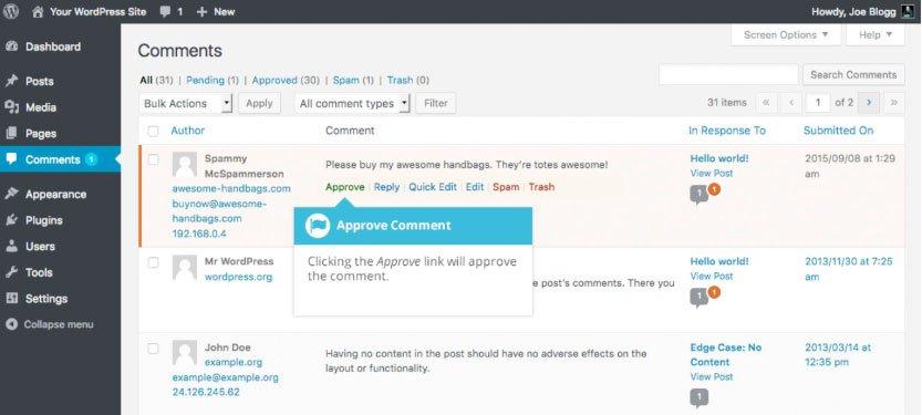 Approvazione commenti WordPress