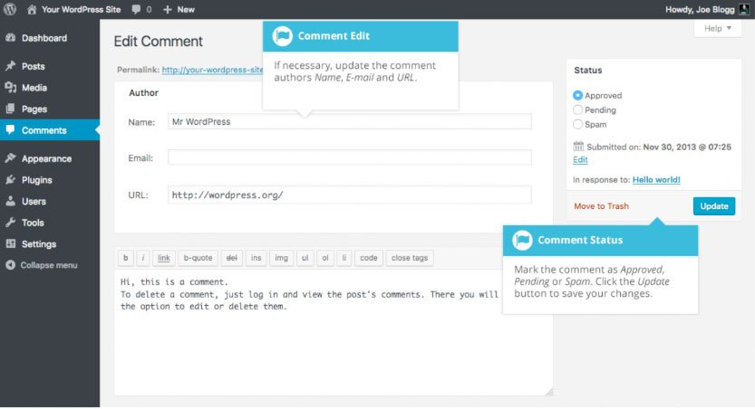 Modifica commenti WordPress