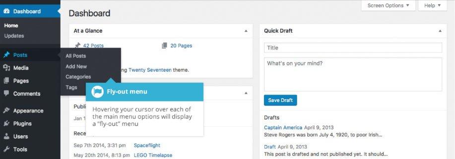 Dashboard WordPress opzioni menu