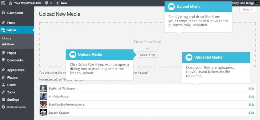 Libreria multimediale WordPress : caricare file multimediale