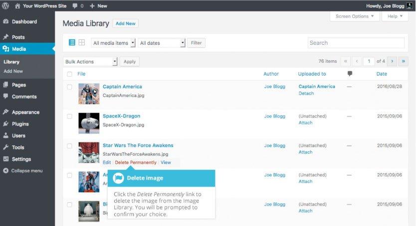 Libreria multimediale WordPress : eliminare definitivamente file