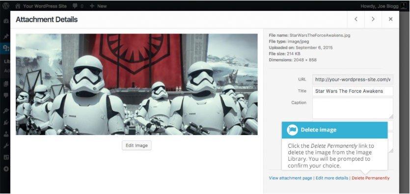 Libreria multimediale WordPress : eliminazione file media