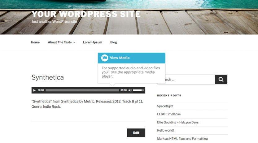 Libreria Multimediale WordPress : file audio