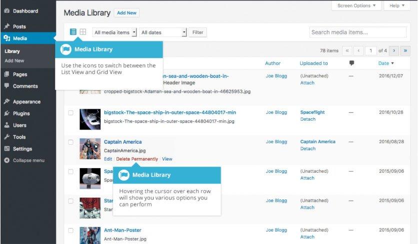 Libreria multimediale WordPress : griglia
