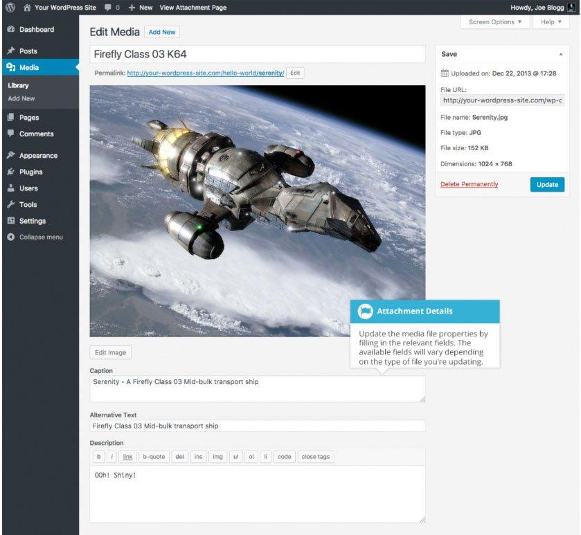 Libreria multimediale WordPress : proprietà file