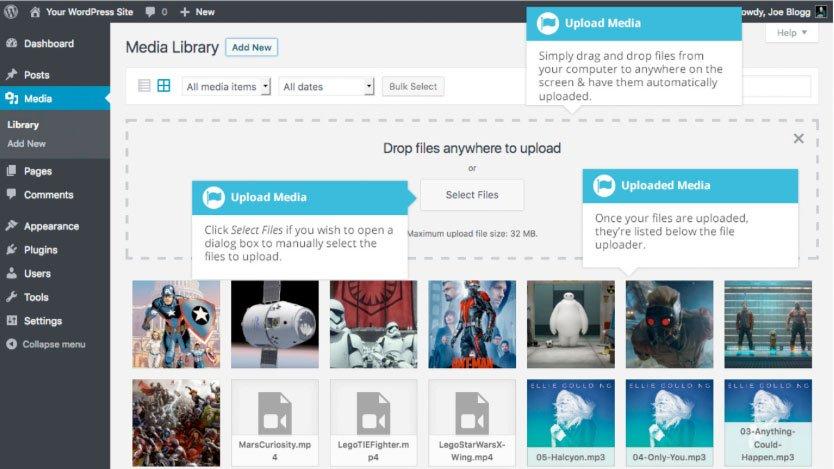 Libreria multimediale WordPress : upload file media