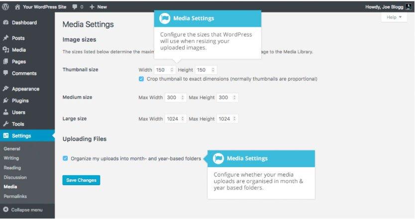 Media WordPress : pannello impostazioni media