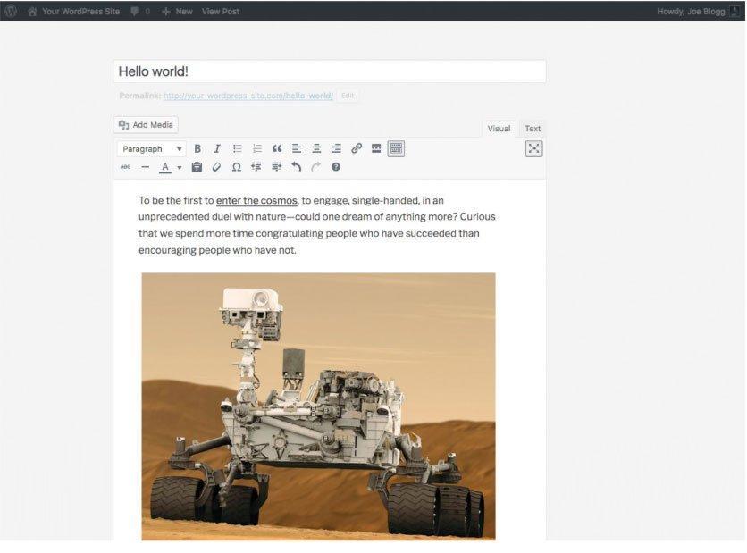 Modifica a schermo intero contenuto WordPress