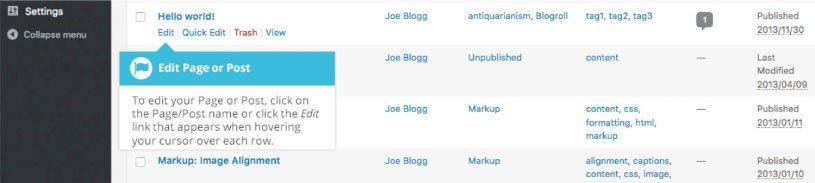 Modifica ed eliminazione di un contenuto esistente su WordPress : modifica contenuto