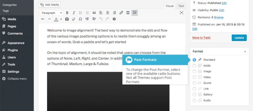 Modifica il formato del tuo post WordPress