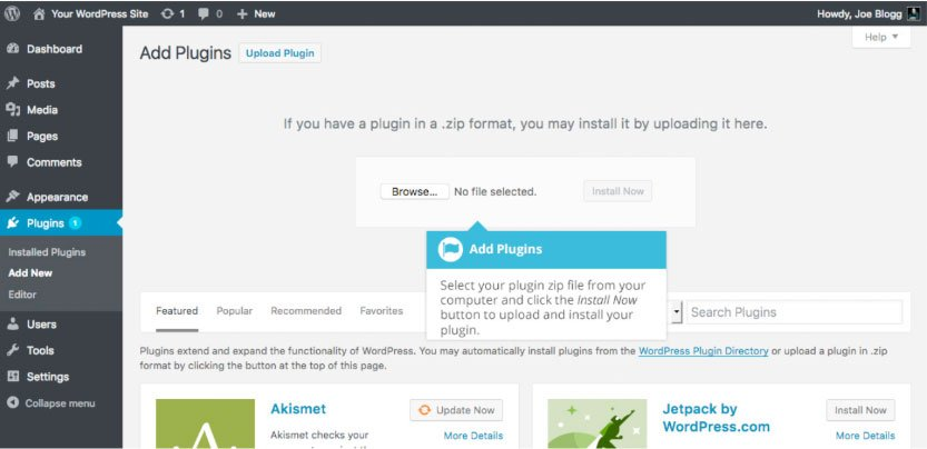 Plugin WordPress : caricamento plugin