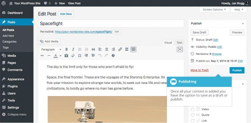 Salvataggio e pubblicazione di un contenuto WordPress : pubblicazione contenuto
