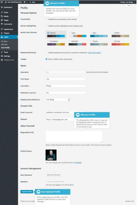 Utenti WordPress : modifica profilo utente