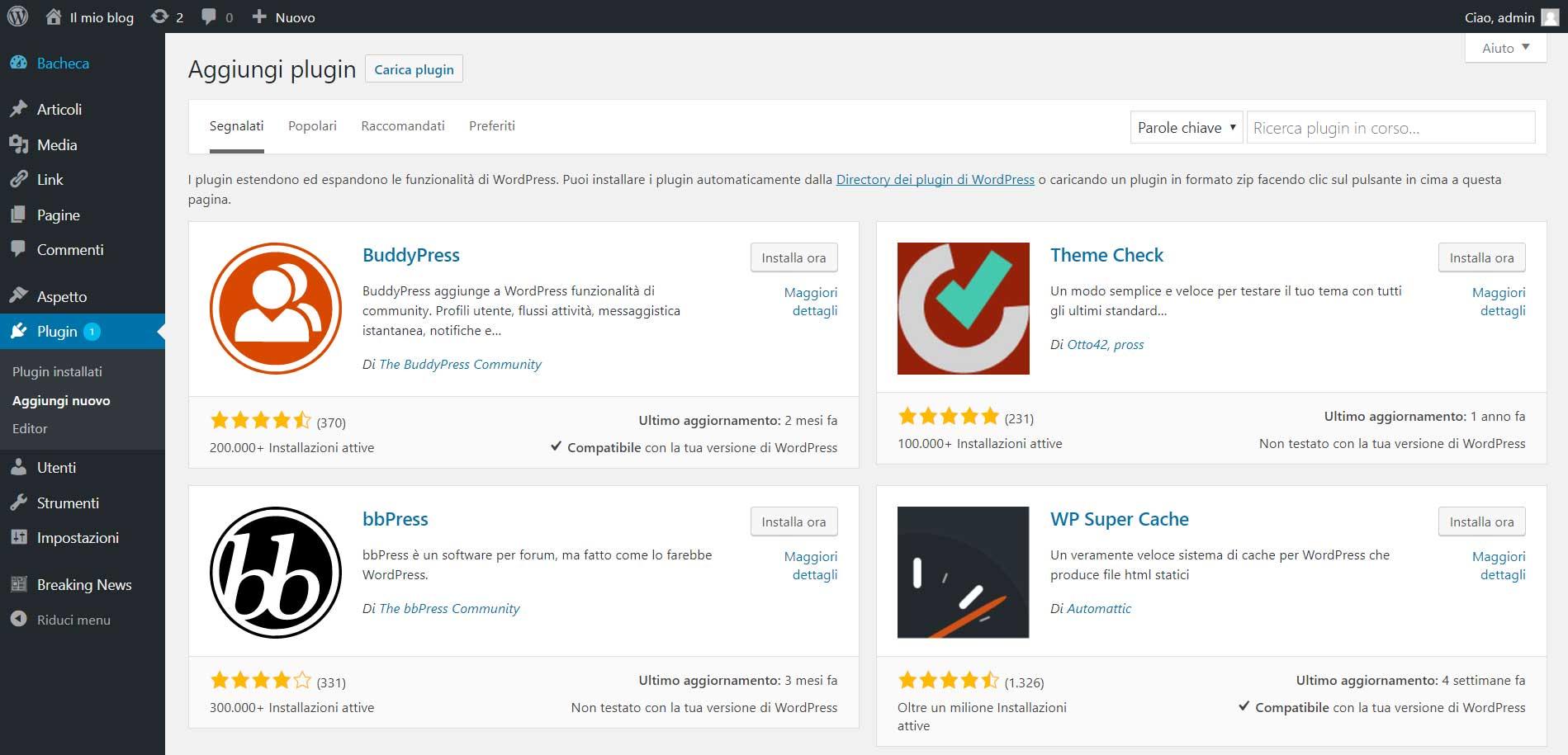 plugin WordPress : aggiungi da repository