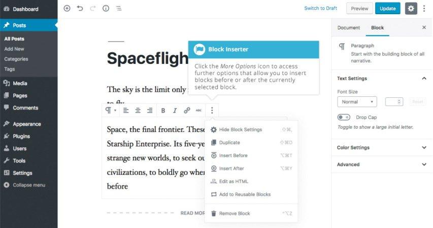 Aggiungere contenuto con i blocchi con Gutenberg - Barra Strumenti