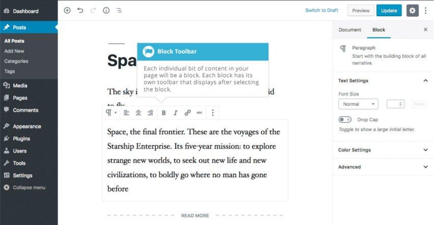 Aggiungere contenuto con i blocchi con Gutenberg - Blocco Paragrafo