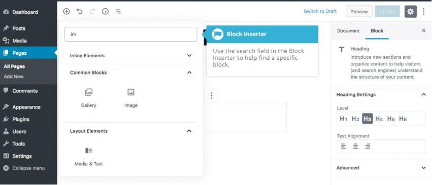 Aggiungere contenuto con i blocchi con Gutenberg - Inseritore Blocco