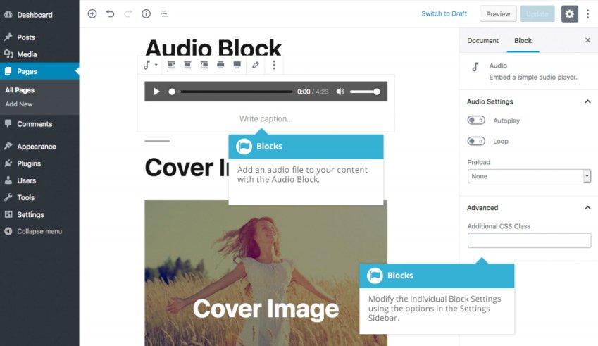 Blocchi comuni Gutenberg  - Blocco Audio