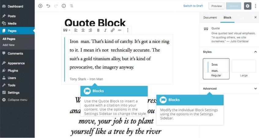 Blocchi comuni Gutenberg  - Blocco Citazioni