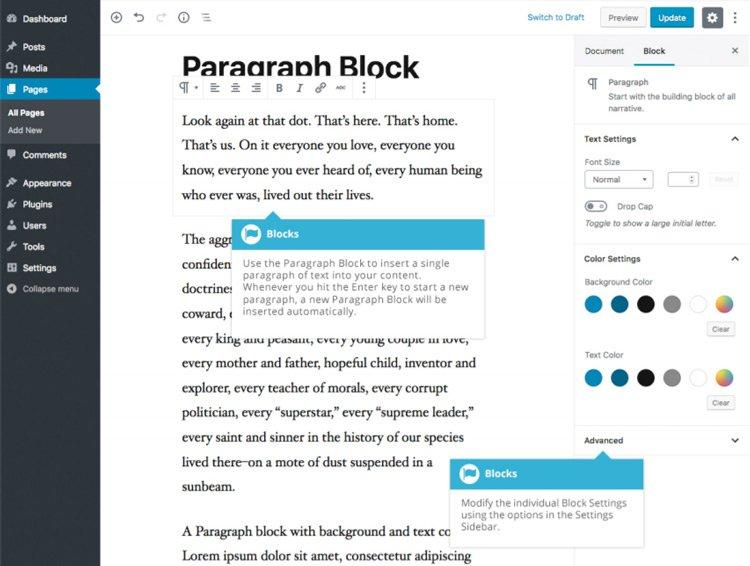 Blocchi comuni Gutenberg  - Blocco Paragrafo