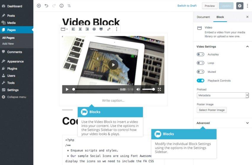 Blocchi comuni Gutenberg  - Blocco Video