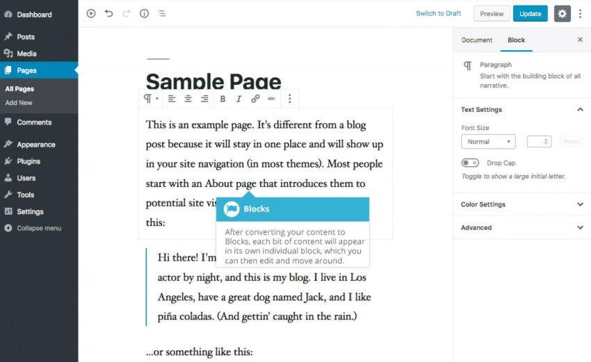 Conversione di contenuto esistente in blocchi con Gutenberg - Conversione blocco