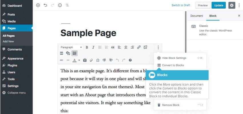 Conversione di contenuto esistente in blocchi con Gutenberg - impostazioni