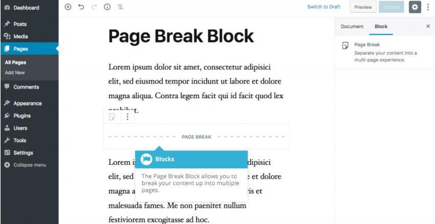 Elementi di Layout Gutenberg - Blocco Interruzione di Pagina