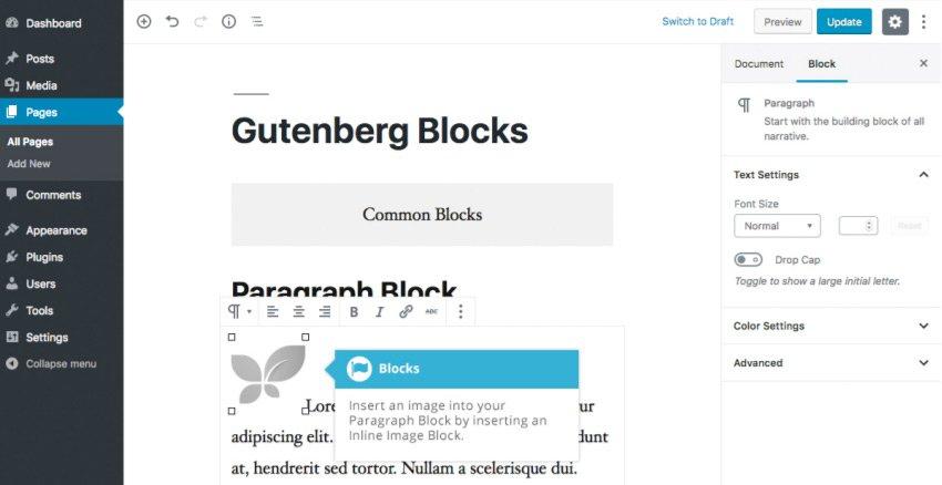 Elementi in linea Gutenberg - Immagini in linea