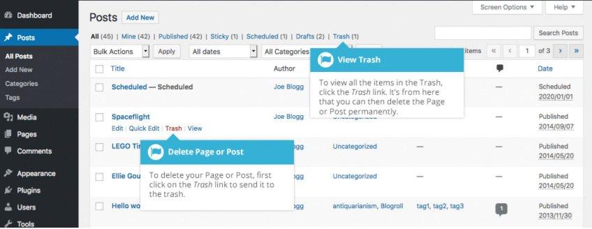 Eliminazione del contenuto con Gutenberg