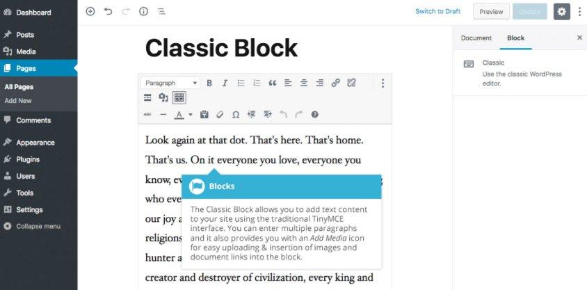 Formattazione Gutenberg - Blocco Classico