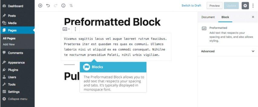 Formattazione Gutenberg - Blocco Preformattato