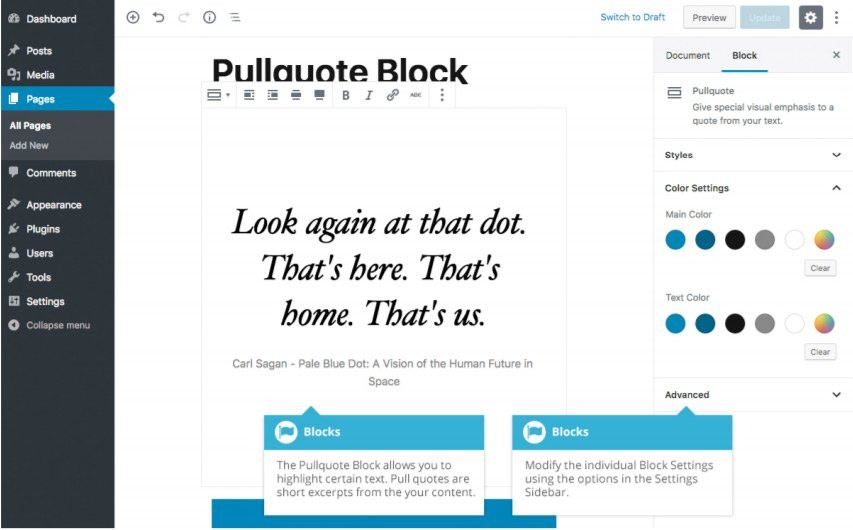 Formattazione Gutenberg - Blocco Pullquote