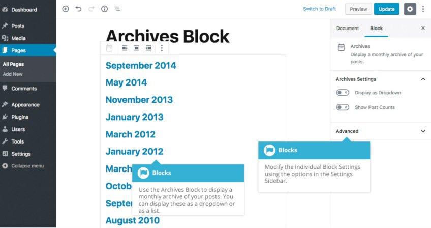 Widget Gutenberg - Blocco Archivi
