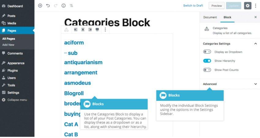 Widget Gutenberg - Blocco Categorie