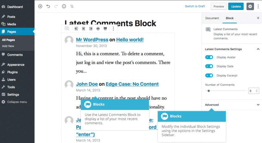 Widget Gutenberg - Blocco Commenti Recenti