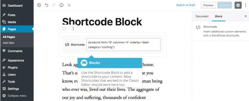 Widget Gutenberg - Blocco Shortcode